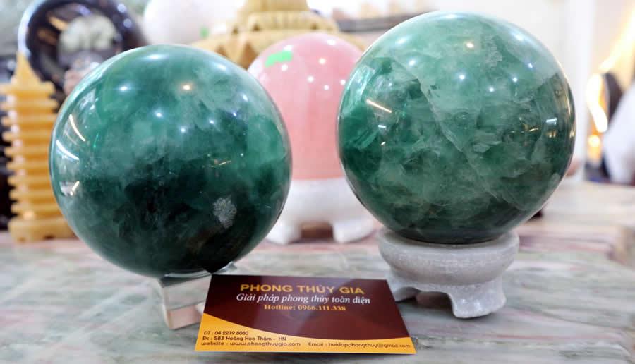 quả cầu thạch anh xanh thiên định