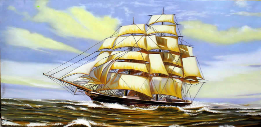 tranh thuyền bồm phong thủy
